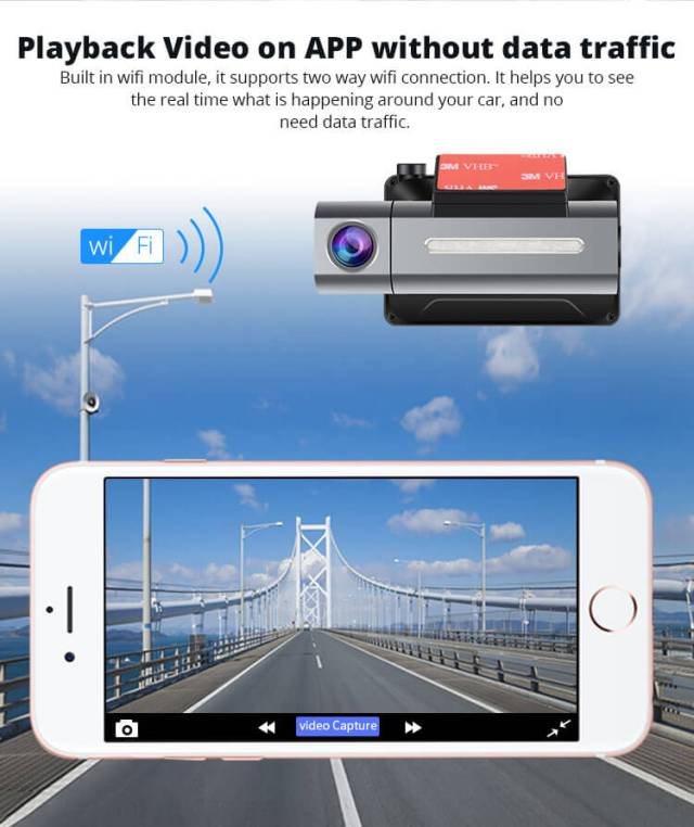 Android Dash Cam Car DVR Camera GPS Logger 3G WiFi Dual Lens WDR Video Recorder 5.1 Rearview camera Vcan1608 8 -