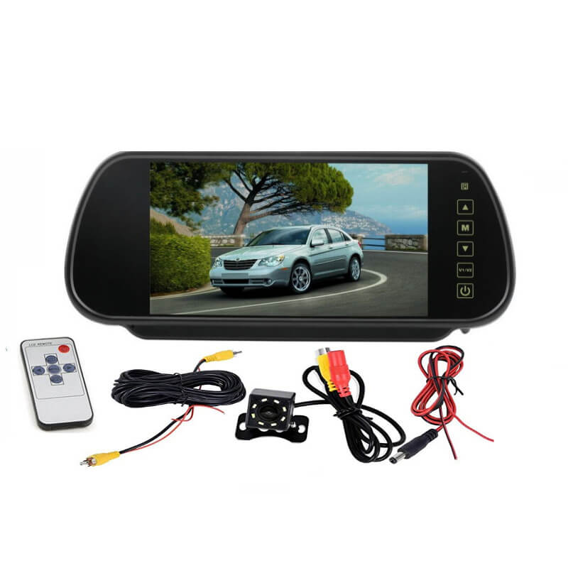 7 Inch Car Mirror Monitor Touch Button Auto Vehicle Parking Rear View Reverse HD Two inputs 4