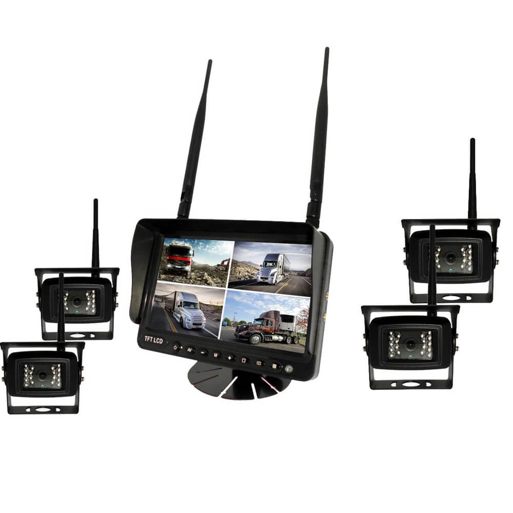 7 inch Wireless DVR quad monitor camera for Truck vehicle with AHD 1280 Night Vision HD Wifi Camera SD card 1