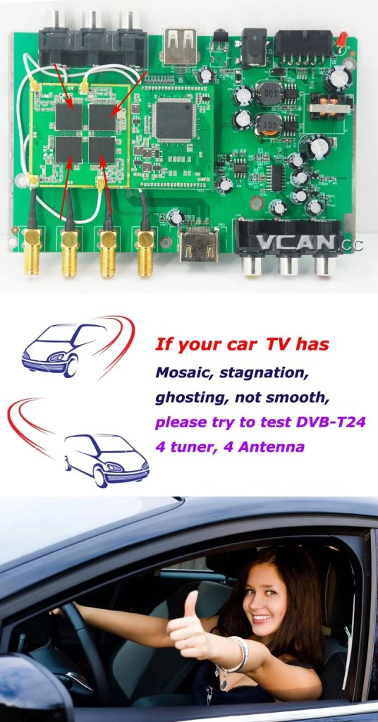 Car DVB-T2 4 Tuner 4 Antenna Digital TV Receiver for High speed auto mobile with USB movie player HDMI out HDTV DVB-T24 20