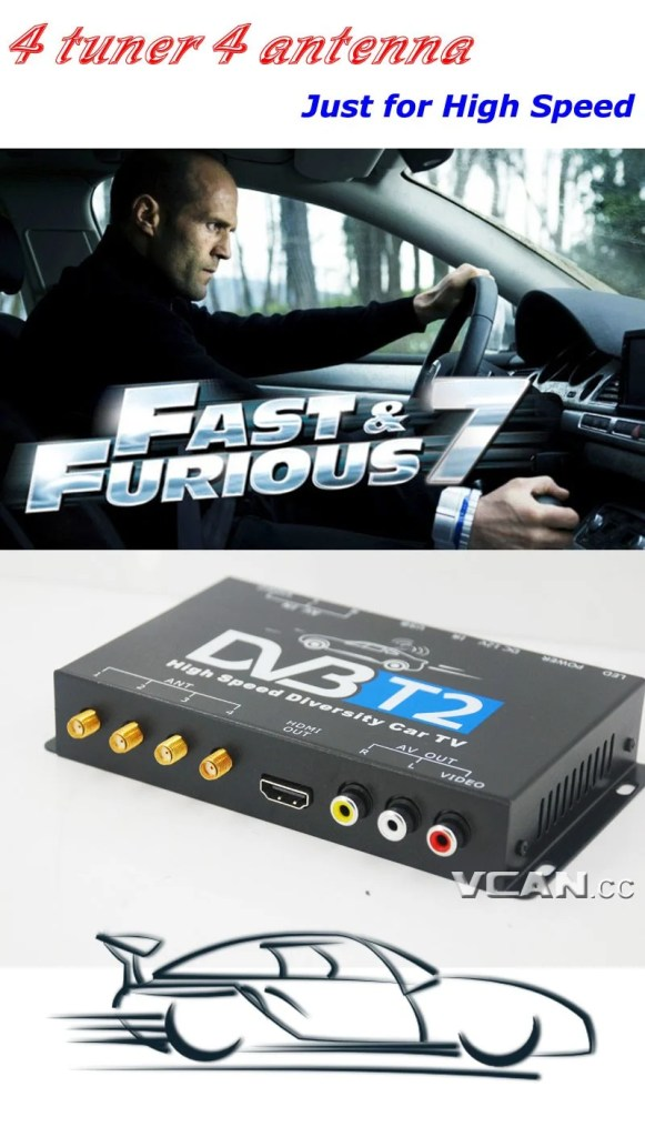 Car DVB-T2 4 Tuner 4 Antenna Digital TV Receiver for High speed auto mobile with USB movie player HDMI out HDTV DVB-T24 22