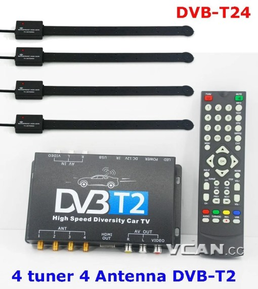 Car DVB-T2 4 Tuner 4 Antenna Digital TV Receiver for High speed auto mobile with USB movie player HDMI out HDTV DVB-T24 3