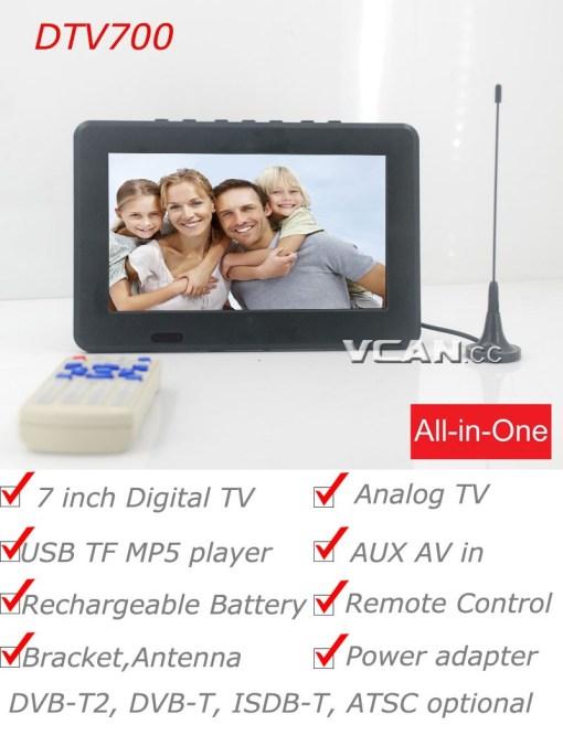 7 DVB-T2 7 inch Digital TV monitor Analog TV USB TF MP5 player AV in Rechargeable Battery 1