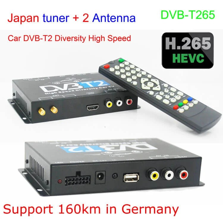 Germany DVB-T2 H.265 HEVC Codec New Model DVB-T265 auto mobile digital car dvb-t2 tv receiver 28