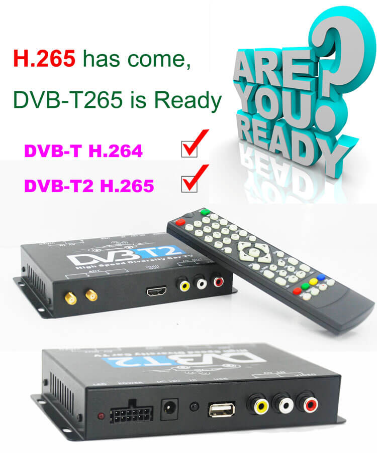 Germany DVB-T2 H.265 HEVC Codec New Model DVB-T265 auto mobile digital car dvb-t2 tv receiver 29