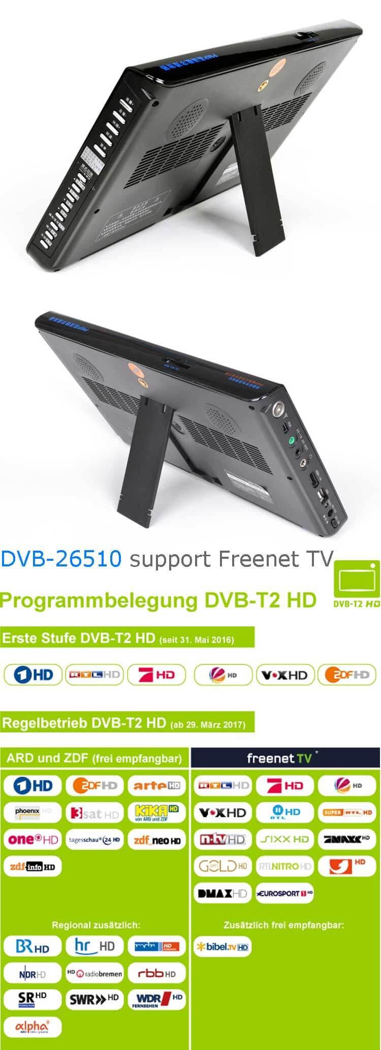 10 DVB-T2 H265 HEVC AC3 Codec Portable TV PVR Multimedia Player Analog kitchen bedroom car DVB-T26510 15
