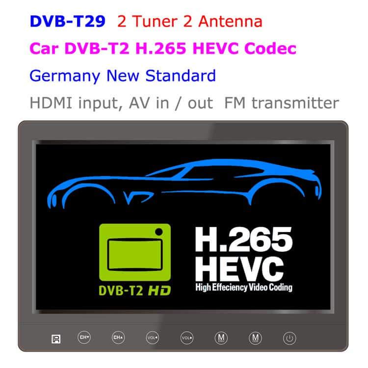 DVB-T29 9 inch portable DVB-T2 LCD TV monitor 2017 HD FTA Freenet H265 HEVC Codec 1