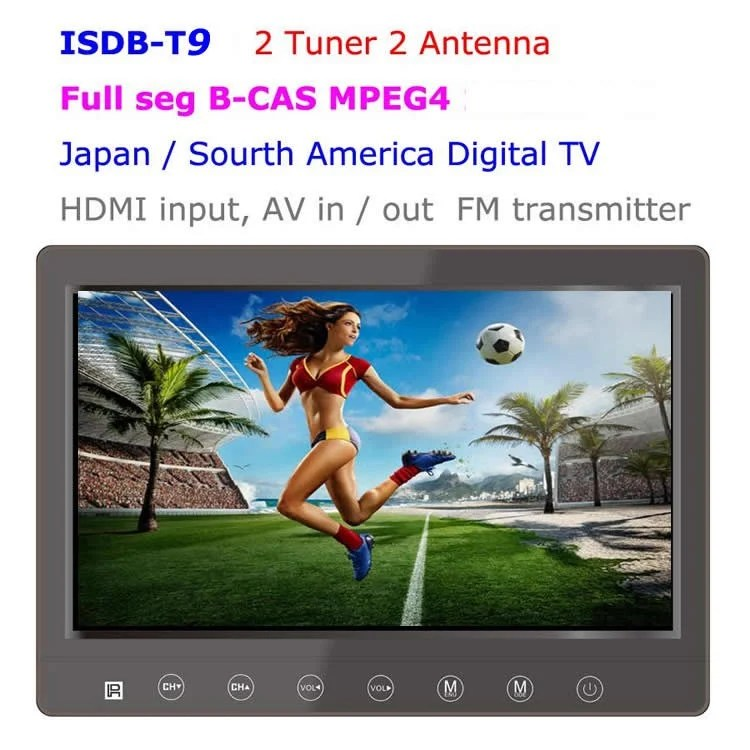 9 inch isdb-t full seg digital tv b-cas 2x2 tuner antenna