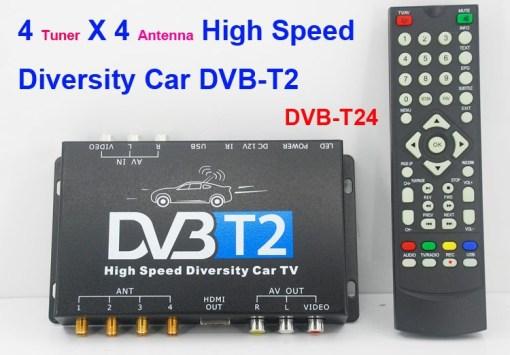 Car DVB-T2 TV Receiver 4 Tuner 4 Antenna USB HDMI HDTV Russia High Speed 1