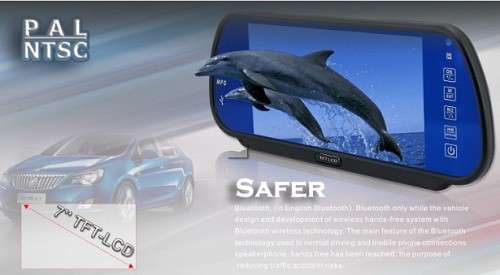 7inch Rearview Mirror Monitor Support MP5 Bluetooth 4