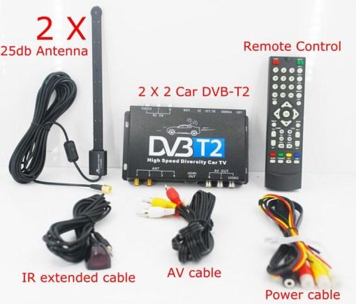 2X2 Two tuner antenna car DVB-T2 Diversity High Speed Russia Thailand 1