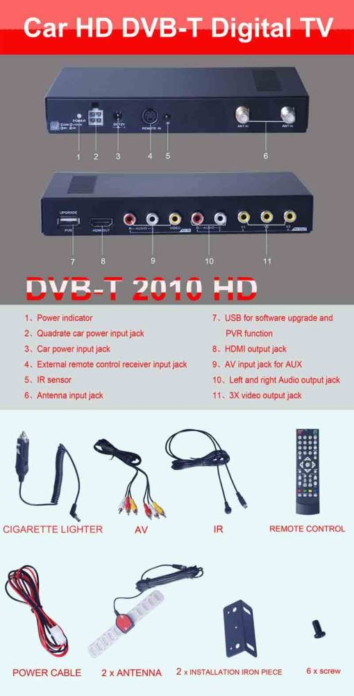 Car DVB-T Receiver MPEG4 H.264 2 tuner 2 diversity antenna Booster Recorder DVBT 9