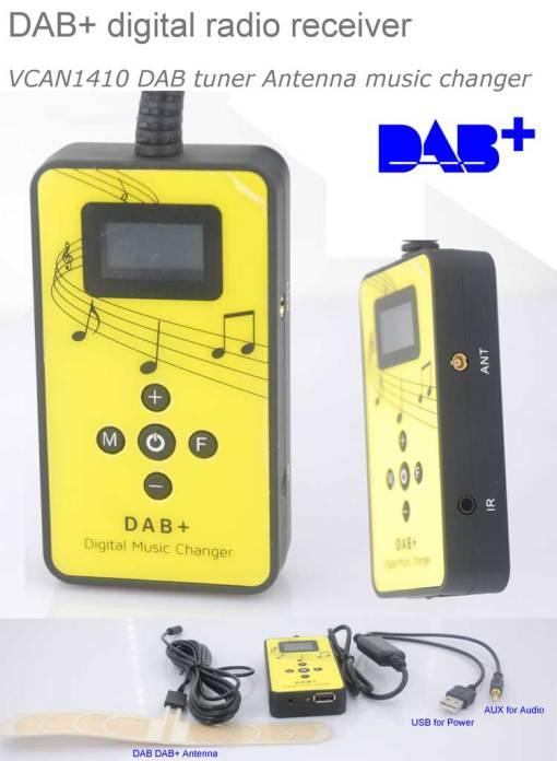 DAB digital radio receiver dab plus tuner Antenna USB power AUX input music changer 1