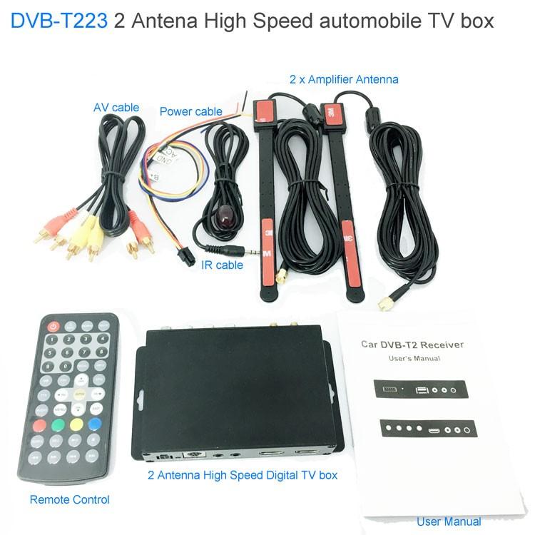 Car DVB-T2 DVB-T Multi PLP Digital TV Receiver 2 Antenna Diversity Dual Aerial H264 MPEG4 HD High Speed FTA STB 15