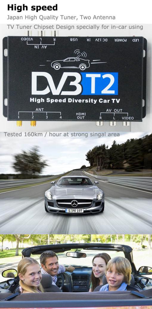 Germany DVB-T2 H265 HEVC 2017 New Model DVB-T265 automobile digital car dvb-t2 tv receiver 8