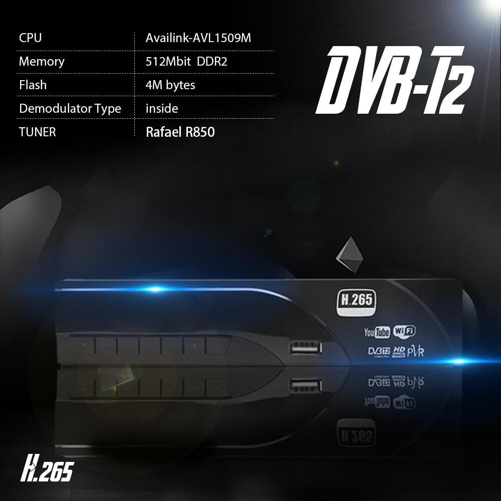 Home DVB-T2 H.265 HEVC H.264 DVB-T Receiver HDMI RCA Terrestrial Digital TV Receiver TV Tuner SCART MPEG4 21