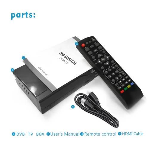 Home DVB-T2 H.265 HEVC H.264 DVB-T Receiver HDMI RCA Terrestrial Digital TV Receiver TV Tuner SCART MPEG4 3