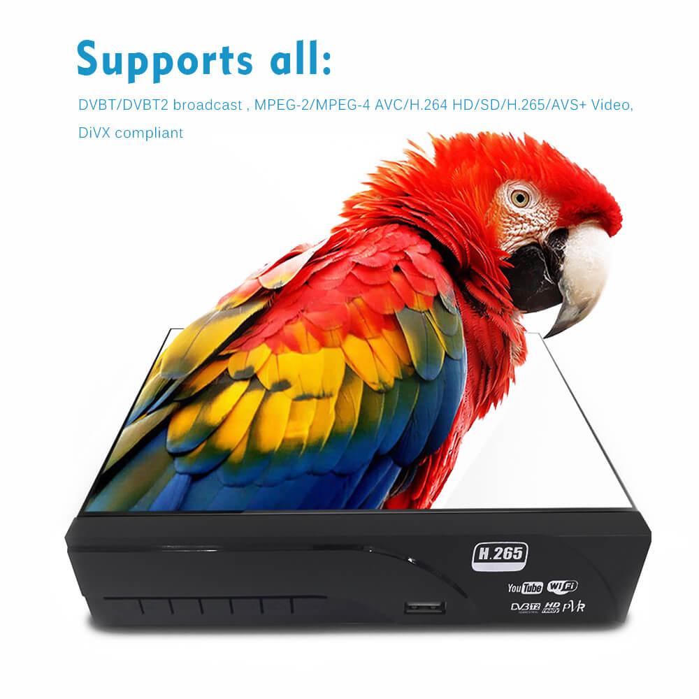 Home DVB-T2 H.265 HEVC H.264 DVB-T Receiver HDMI RCA Terrestrial Digital TV Receiver TV Tuner SCART MPEG4 27