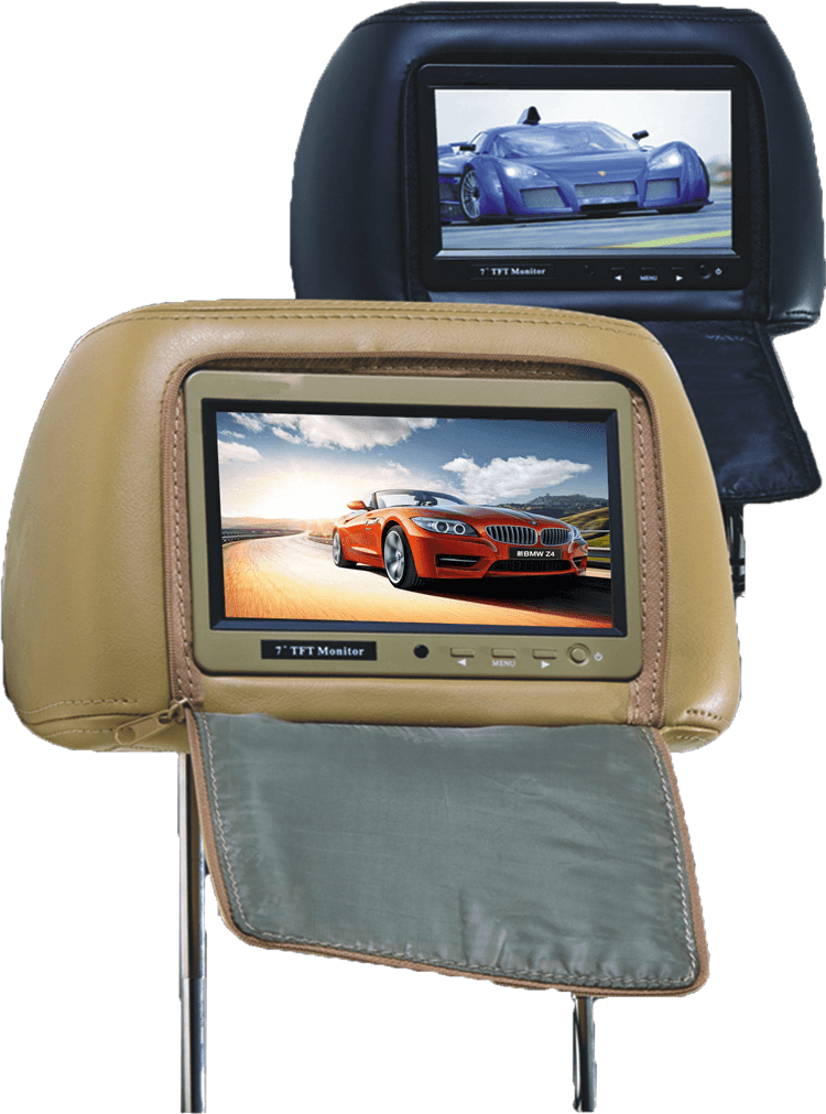 7 inch headrest monitor with pillow bag LED backlight cover zipper 22