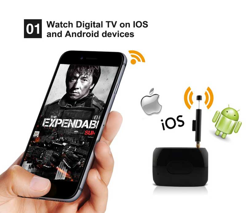 WiFi-TV1W digital TV wifi receiver dvb-t isdb-t for smartphone no need internet 20
