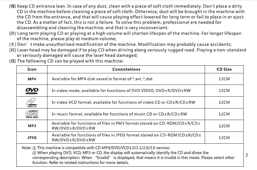 VCAN1294 user manual for 2 din GPS navigation DVD USB SD 3