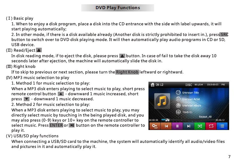 VCAN1294 user manual for 2 din GPS navigation DVD USB SD 8