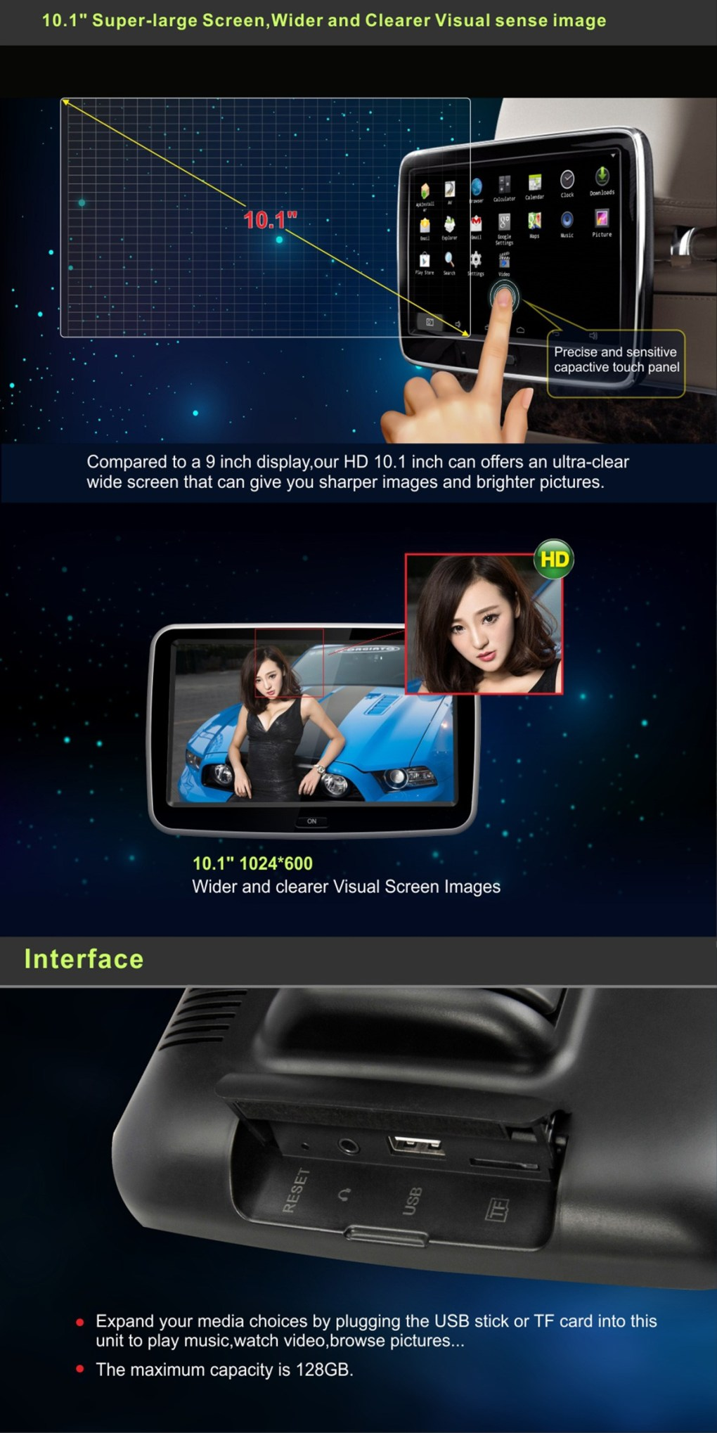 Android Headrest Player 10.1 inch IPS HD Monitor With WiFi Speaker Bluetooth FM transmitter Seat Touch Screen 12V 2PCS Pair 8