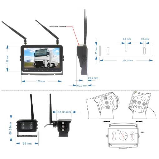 7 inch Wireless DVR quad monitor camera for Truck vehicle with AHD 1280 Night Vision HD Wifi Camera SD card Vcan1667 2