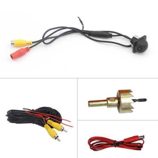 small straw hat rearview camera with 3 switches cuttable cable for parking guideline on/off, horizontal mirror on/off, vertical mirror on/off 3