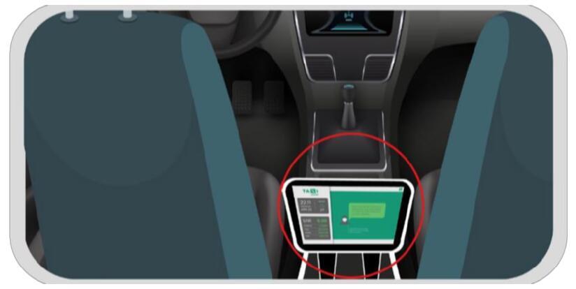 taxi MDT at handrest for passenger