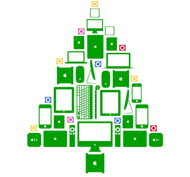 Christmas tree made of apple gadgets