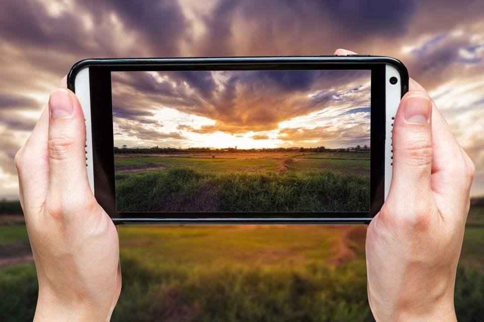 sunset through cell camera