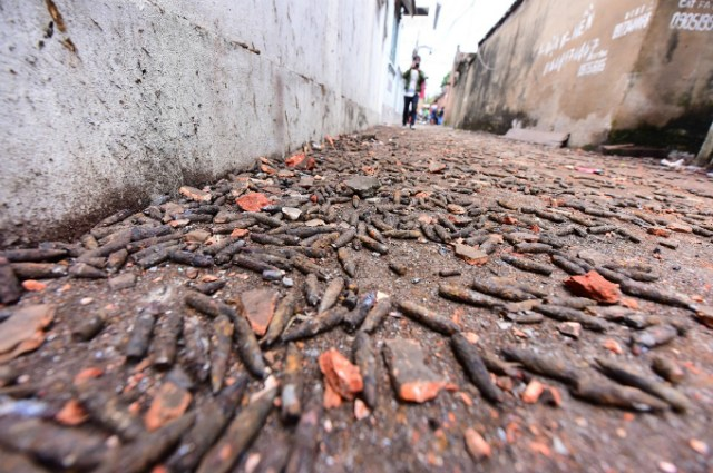 Bullets scatter on a road at Quan Do Village in Bac Ninh the morning after the explosion. Photo by VnExpress