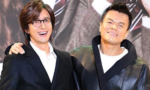 Bae Yong Joon và ông Park Jin Young - chủ tịch của công ty giải trí YG, một trong ba công ty giải trí lớn nhất Hàn Quốc.