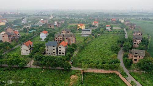 Một trong những dự án đầu tiên được triển khai tại Mê Linh, rộng 41 ha với quy hoạch hàng trăm căn biệt thự, nhà liền kề và chung cư. Ảnh: Giang Huy