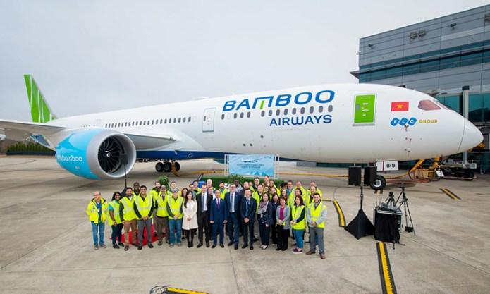 Tàu bay 787-9 của Bamboo Airways vừa nhận tại trung tâm của Boeing ở South Carolina,Mỹ. Ảnh: BAV