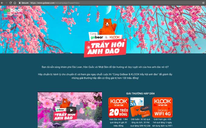 GoBear Việt Nam hợp tác cùng KLook tổ chức cuộc thi hướng đến những du khách yêu thích vẻ đẹp của mùa hoa anh đào.