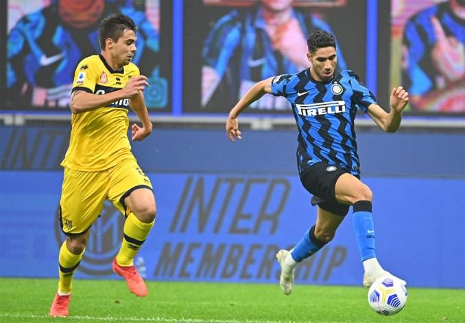 Hakimi đang là vũ khí lợi hại của Inter bên hành lang phải. Ảnh: AFP.