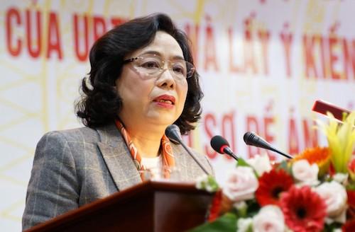 Phó bí thư TP Hà Nội Ngô Thị Thanh Hằng phát biểu sáng 26/3. Ảnh: HT