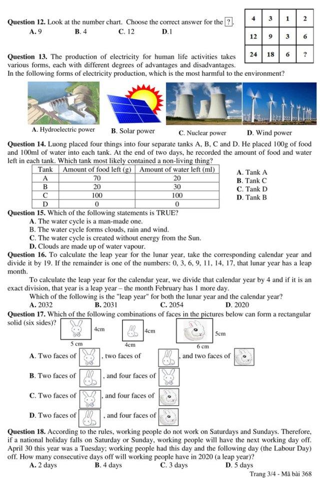 Đề và đáp án bài khảo sát vào lớp 6 trường chuyên Trần Đại Nghĩa - 2