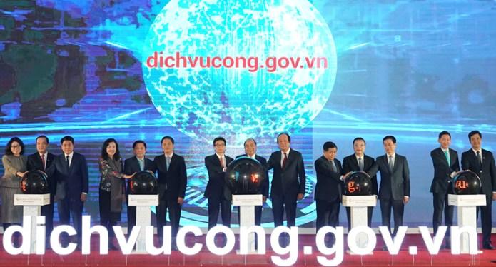 Thủ tướng khai trương Cổng dịch vụ công quốc gia. Ảnh: VGP