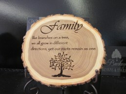 Family tree engraved on wood.