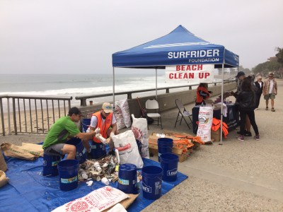 Surfrider volunteers at a beach cleanup in June.
