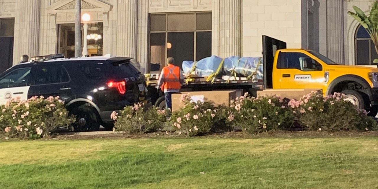 SERRA STATUE REMOVED   Controversial statue moved to temporary storage
