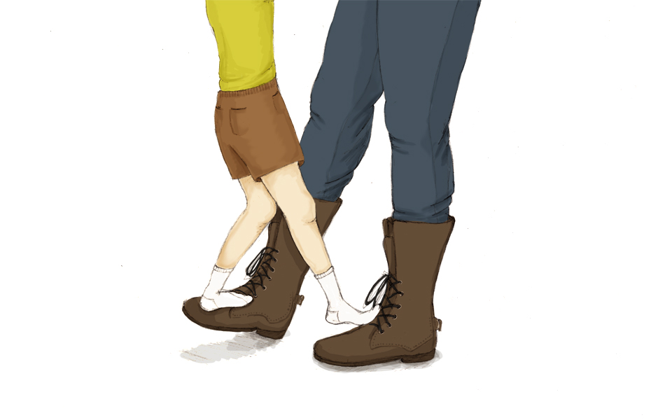 Dancing on father's feet
