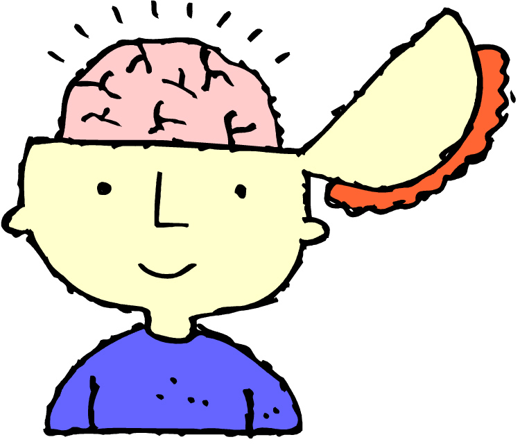 Cartoon of head with brain