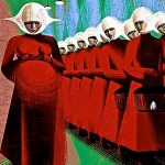 Drawing of Handmaids from Atwood's novel