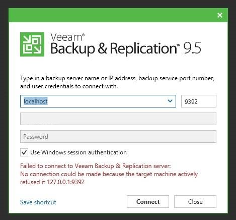 Failed to connect to Veeam Backup