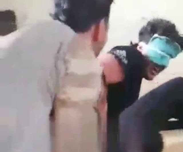 Disturbing moments of a young Kurdish man named Hussein being tortured psychologically by pro-Turkish militants in Afrin