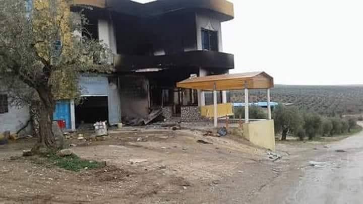 عفرين: حرق معمل في قرية بعدينو بعد سرقة محتوياته